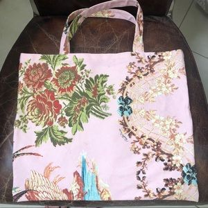 Roberto Cavalli pink floral print textile tote.